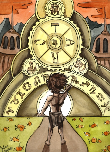 """""""The Wheel of Fortune."""" 9x12"""", ink and watercolor."""