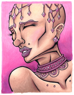 """Bald Beauty."" 8.5x11"", ink and colored pencil."
