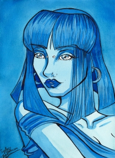 """""""Blue Lady."""" 10x14"""", watercolor and ink."""